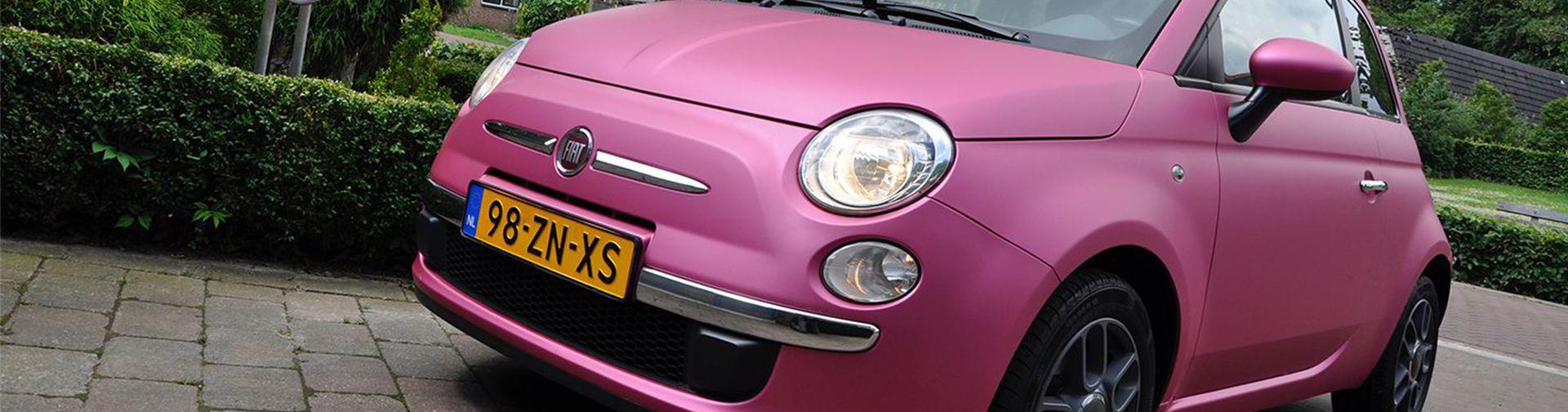 Carwrap Fiat 500 roze