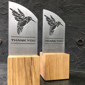 Award op maat hout Glance & Vision