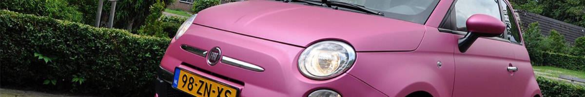 Carwrappen roze fiat 500