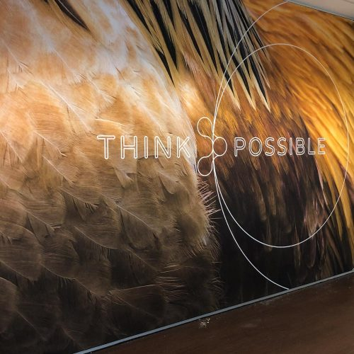 Groot formaat print wandsticker think possible