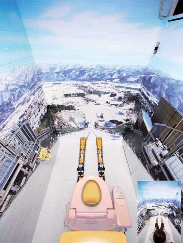 Skischans op het toilet